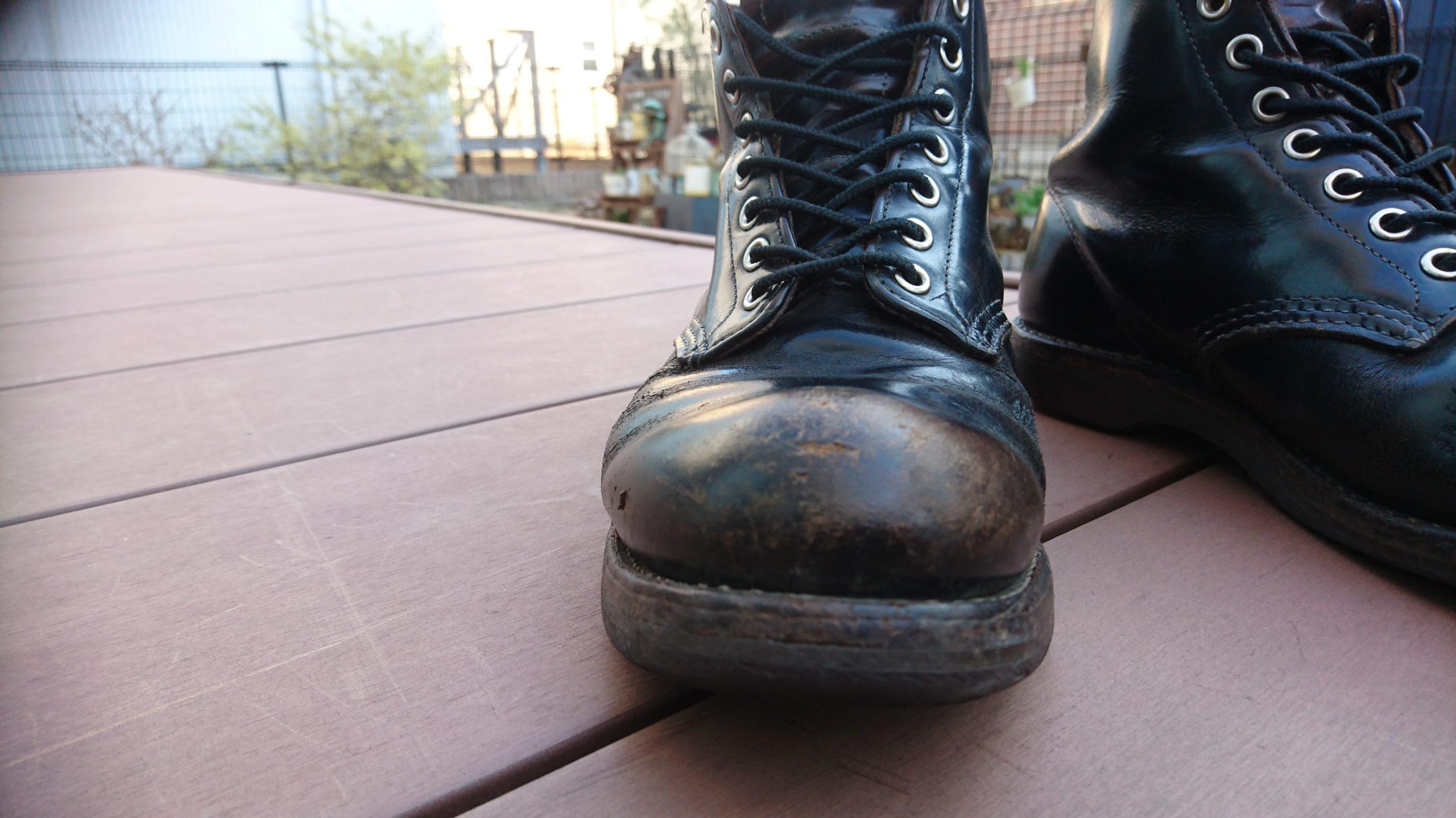 8年経過のブーツ レッドウィング9870 茶芯 ワークブーツ ブラッククロンダインク