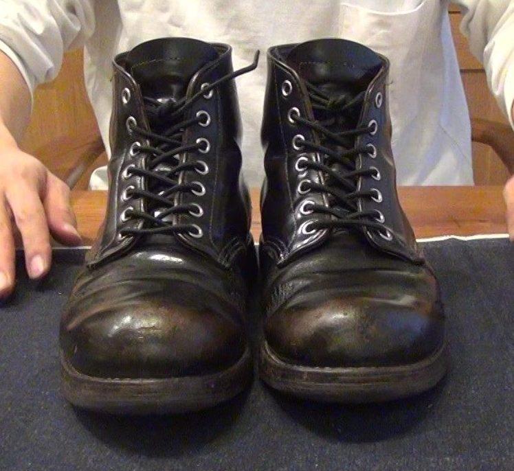レッドウィング9870 経年変化 茶芯 ブラッククロンダインク コロニル 靴磨き
