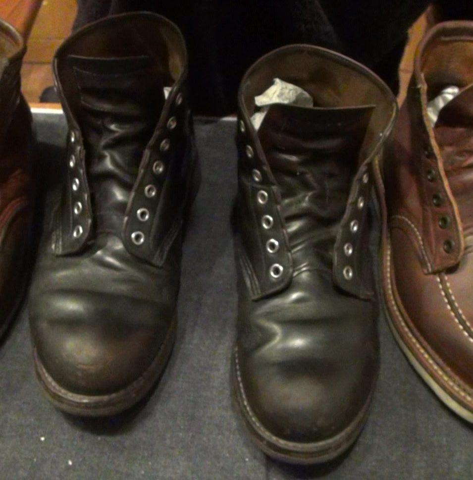 レッドウィング9870 経年変化 ブラッククロンダインク 動物性オイル 靴磨き