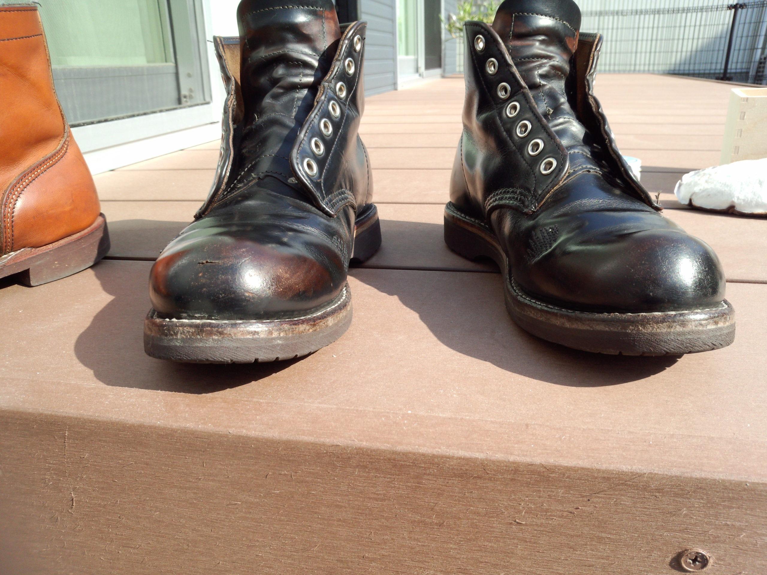 ひなたぼっこブーツ レッドウィング9870 茶芯 ワークブーツ ブラッククロンダインク